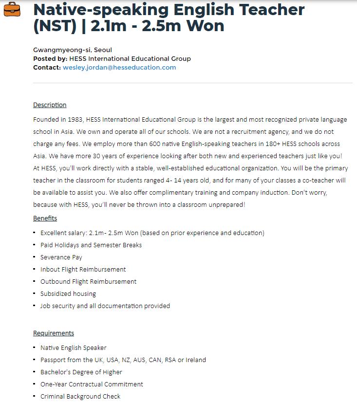 korea salary no tefl